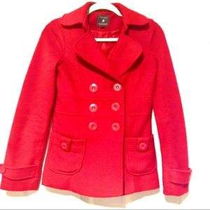 Forever 21 Red Classic Pea Coat Button Up Soft S